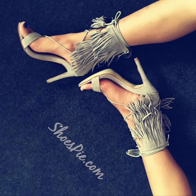 Shoespie Hobo Tassel Stiletto Heel Dress Sandals