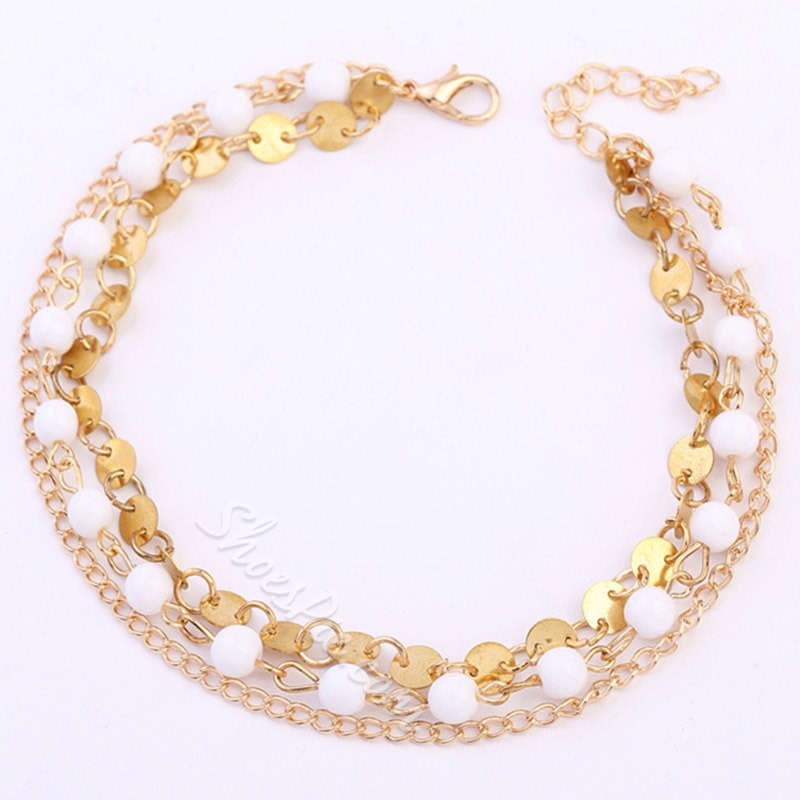 Shoespie Golden Beaded Layered Anklet