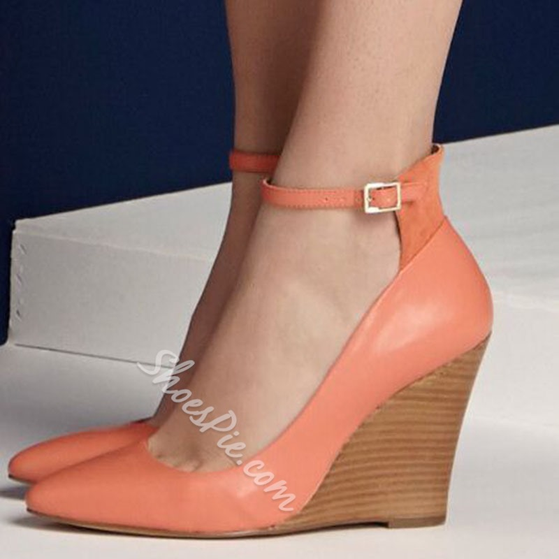 Shoespie Orange Ankle Wrap Wedge Heels