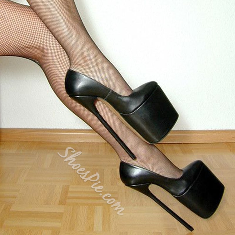 Shoespie Sexy Night Out Black Platform Heels