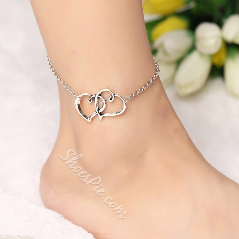 Shoespie Double Heart Concise Anklet