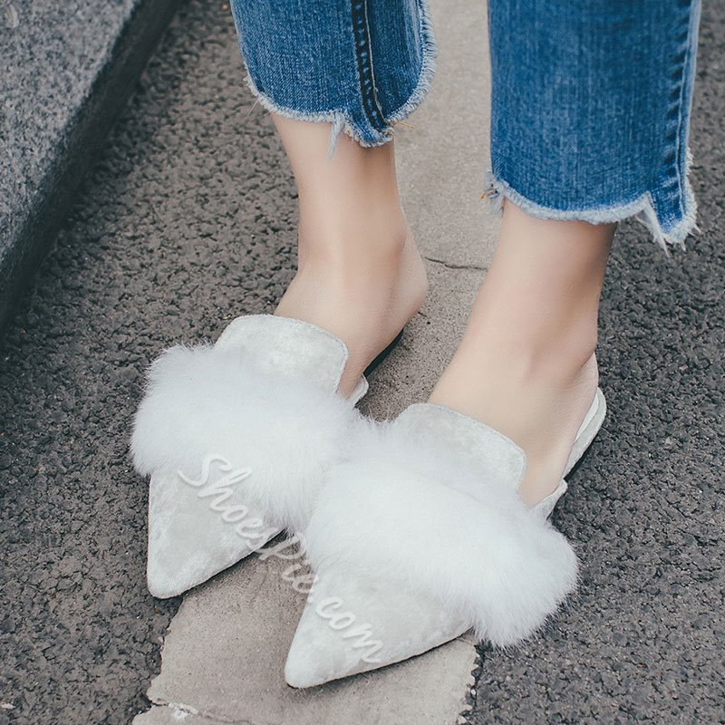 Shoespie Pointed Toe Faux Fur Decorated Flat Mules