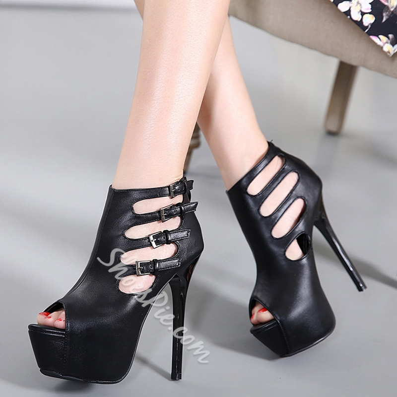 Shoespie Stylish Buckle Caged Platform Heels