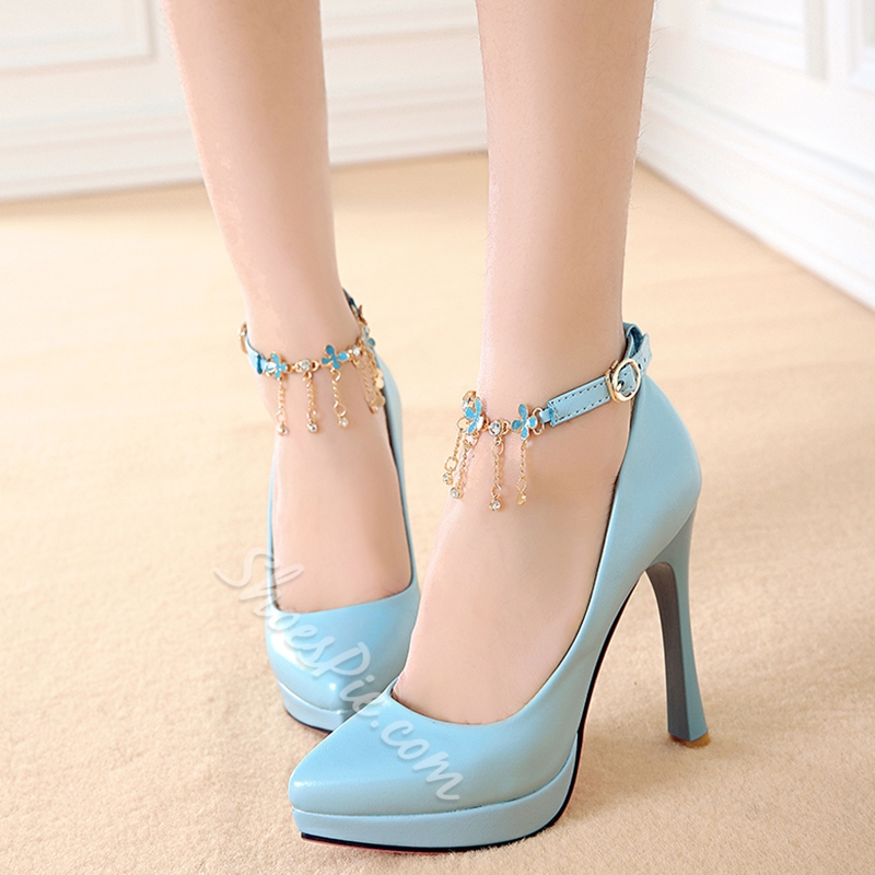 Shoespie Chic Solid Color Fringe Ankle Wrap Platform Heels