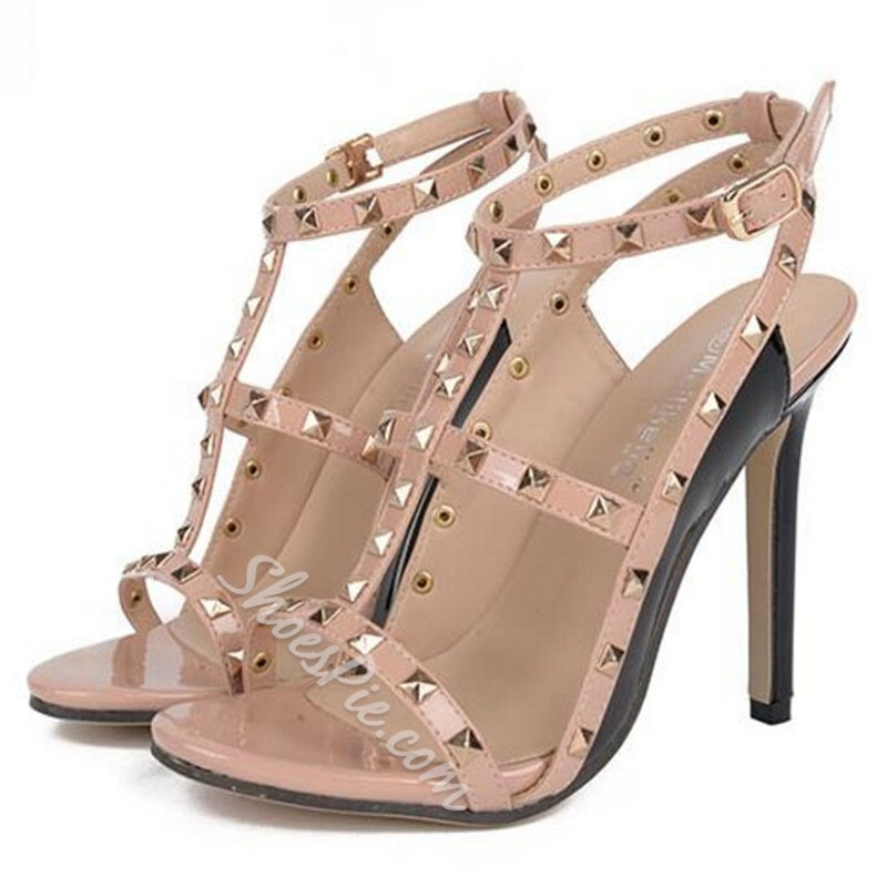 Shoespie Square Rivets Strappy Sandals
