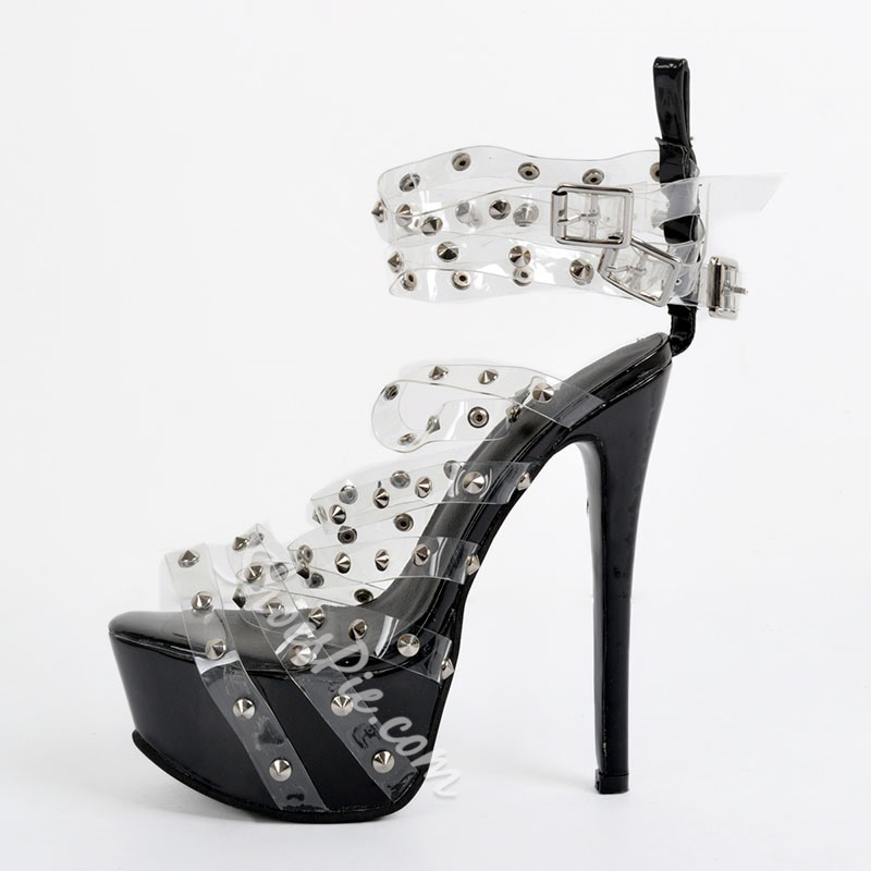 Rivet Jelly Strappy High Stiletto Heel Sandals