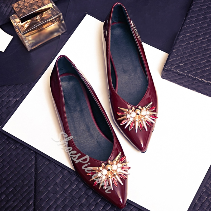 Shoespie Fashion Floral Rhinestone Loafers