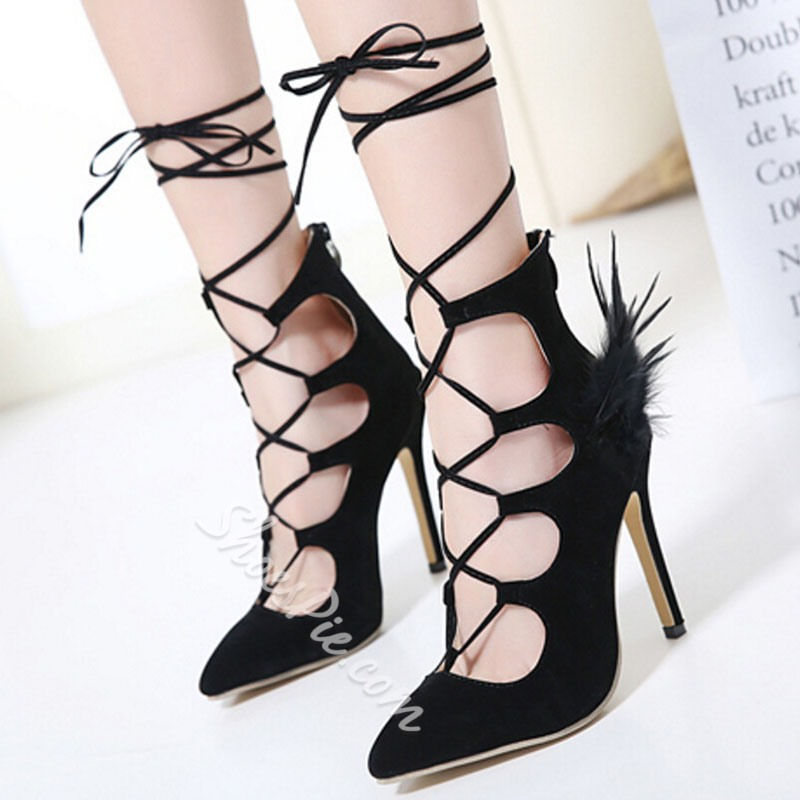 Shoespie Stylish Black Feather Lace Up Stiletto Cheap Heels