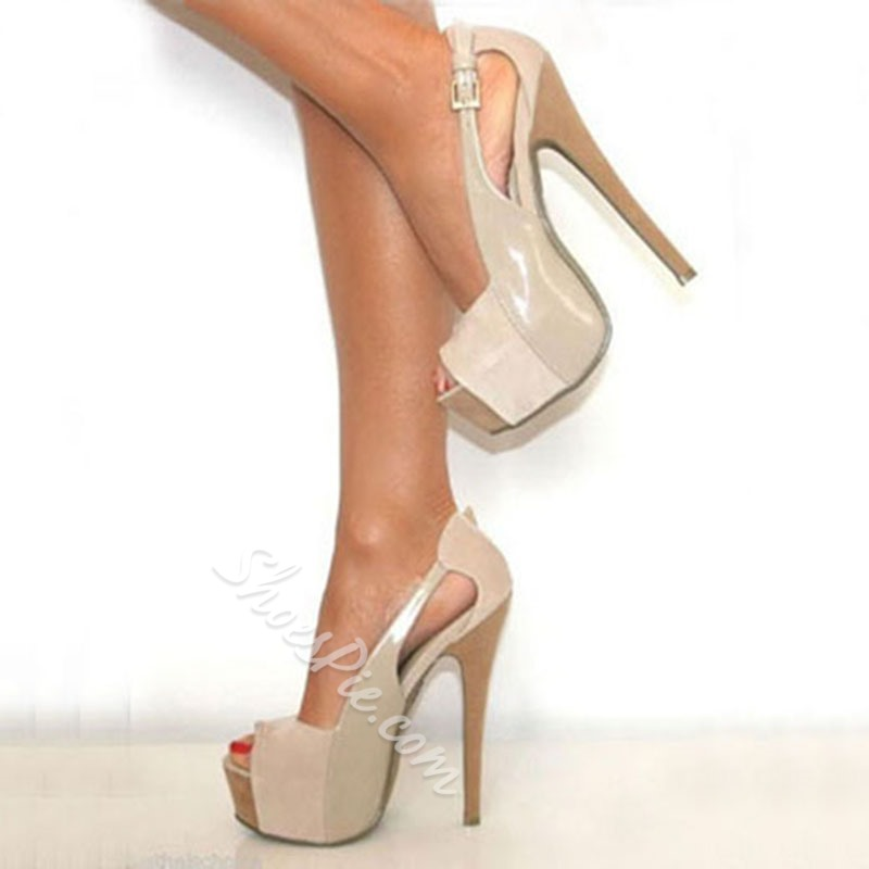 Shoespie Fashionable Peep-Toe Cut-outs Platform Heels