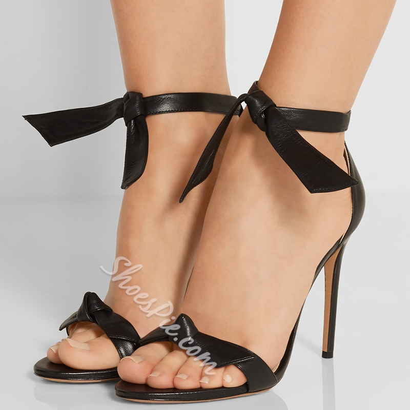 Shoespie Solid Color Strappy Knots Sandals