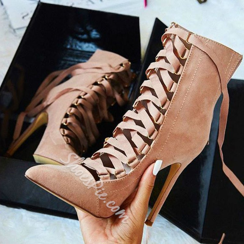 Shoespie Solid Color Lace Up Caged Fashion Booties