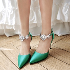 Shoespie Low-key Luxury Satin Ankle Jewelled Stiletto Heels