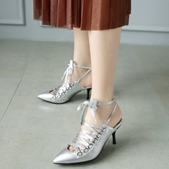Shoespie Stylish Lace Up Backless Low Heels