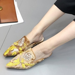 Shoespie Fashion Floral Embroidered Backless Loafers