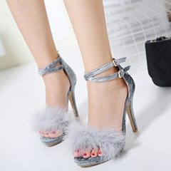Shoespie Velvet and Feather Sandals