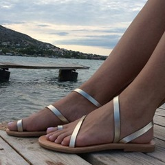 Shoespie Silver Clip Toe Strappy Flat Sandals