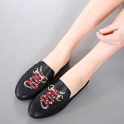 Shoespie Fashion Snake Print Backless Loafers
