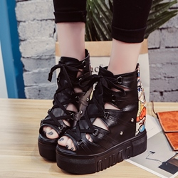 Shoespie Street Style Front Lace Up Wedge Sandals