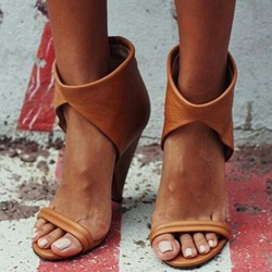 Shoespie Brown Ankle Wrap Heel Sandals