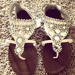 Shoespie White Rhinestones Flat Sandals