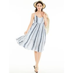 Spaghetti Strap Geometric Pattern Day Dress
