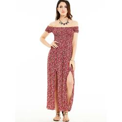 High-Waist Flower Print Maxi Dress