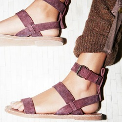 Shoespie Purple Buckles Roman Flat Sandals