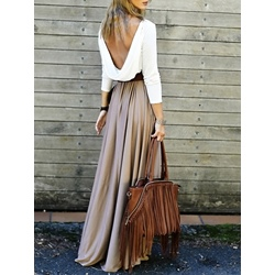Shoespie Color Block Backless Pullover Women's Maxi Dress