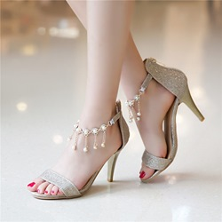 Shoespie Ankle Beading Decoration Dress Sandals