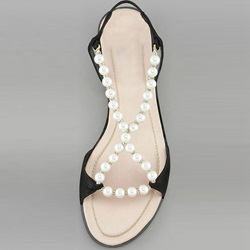 Shoespie Pearls Beading Flat Sandals