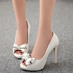Shoespie Cute Bow Solid Color Platform Heels