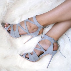 Shoespie Gray Cutout Back Lace Up Sandals