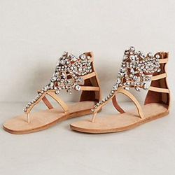 ShoespieBohemian Rhinestones Decorated Flat Sandals
