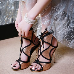 Shoespie Purfled Sequin Dress Sandals
