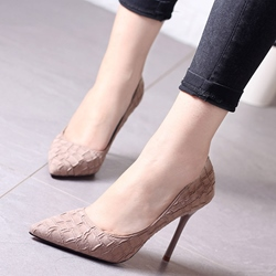 Shoespie Classy Embossed Leather Stiletto Heels