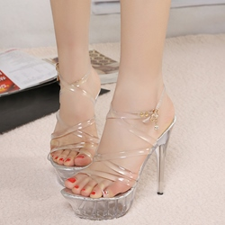 Strappy Jelly Platform Stiletto Heel Sandals