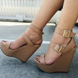 Shoespie Buckles Wedge Sandals