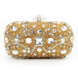 Shoespie Golden Beaded Banquet Clutch