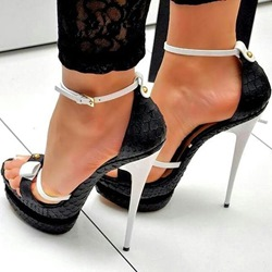 Shoespie Women Black White Bows Platform Heel Sandals