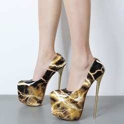 Shoespie Sheet Lightning Print Platform Heels