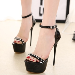 Shoespie Rhinestones Decorated Platform Sandals