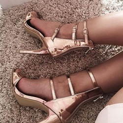 Shoespie Golden Strappy Sandals