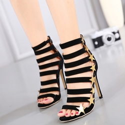 Shoespie Golden Stars Black Strappy Sandals