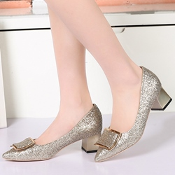 Shoespie Sequine Buckle Block Low Heels