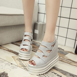 Shoespie Back Zipped Platform Wedge Sandals