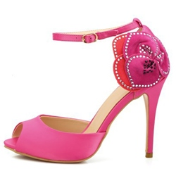 Shoespie Satin Side Flower Appliqued Stiletto Heels