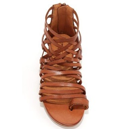 Shoespie Brown Clip Toe Strappy Flat Sandals