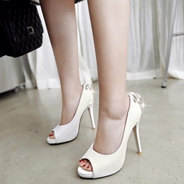 Shoespie Solid Color Back Embellished Peep Toe Heels