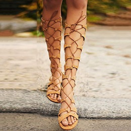 Shoespie Lace Up Knee High Gladiator Sandals