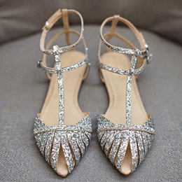 Shoespie Sequin Pointed Toe Flat Sandals